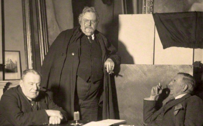 NPG x38279; Hilaire Belloc; G.K. Chesterton; Unknown man
